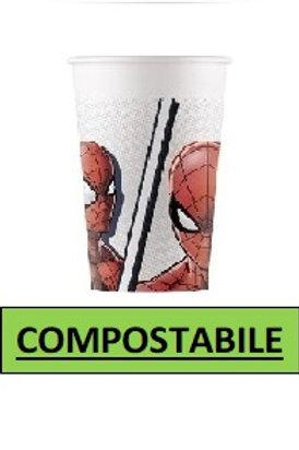 Bicchiere  200 ml COMPOSTABILE Spiderman Super Hero 8 pz