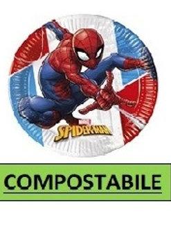 Piatto piano 23 cm COMPOSTABILE Spiderman Super Hero 8 pz