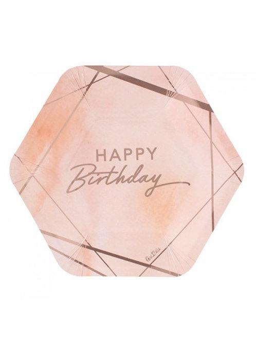 Piatto esagonale BIRTHDAY PINK 8 pz