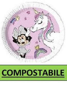 Piatto Carta 20 cm COMPOSTABILE Minnie Unicorn  8 pz