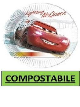 Piatto Carta 23 cm COMPOSTABILE Cars High Speed 8 pz