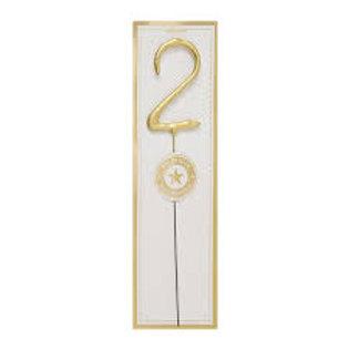 Candela scintillante numerale 2 oro
