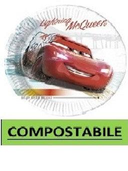 Piatto Carta 20 cm COMPOSTABILE Cars High Speed 8 pz