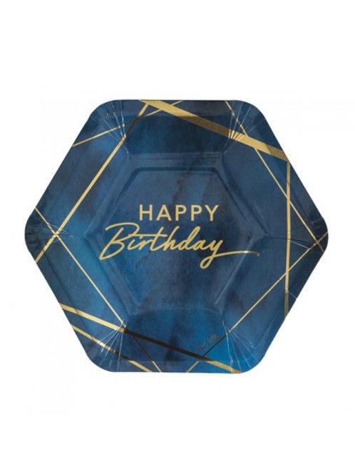 Piatto esagonale BIRTHDAY BLUE 8 pz