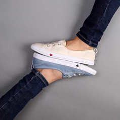 Small heart detail for Converse's Chuck Taylor Ballet Flat. White and light blue denim colorways for Spring 2019. Small details and subtle material changes briefed by the team for a commercial and conservative type consumer.