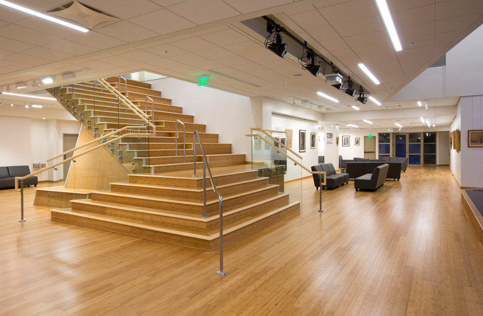 Hand rails and Plyboo stairs (Textured Bamboo constructed plywood) .