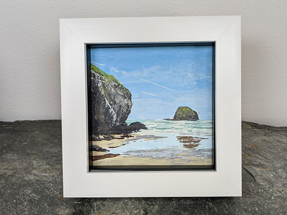 Original Miniature Painting, Gull Rock, Trebarwith, Cornwall