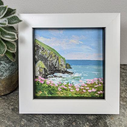 Original Miniature Painting, Cornish Coast with Sea Thrift