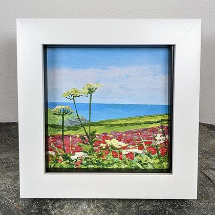 Original Miniature Painting, The Polly Joke Poppies, Cornwall