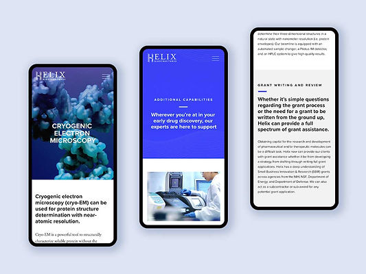 Mobile view of Helix BioStructures website redesign