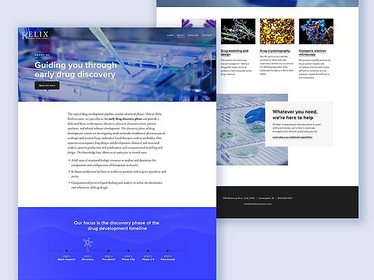 """Helix BioStructures """"About Us"""" and """"Services"""" website pages"""