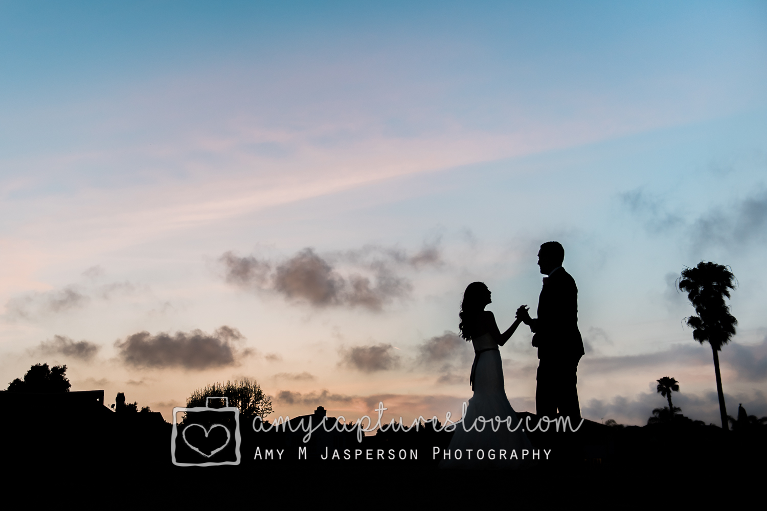Bride and Groom Sunset Huntington Be