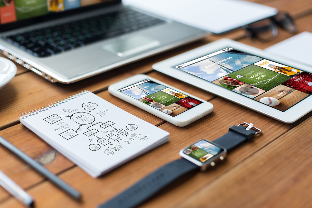 Image of a iWatch, Mobile Phone, Tablet and laptop showing a mobile responsive design.