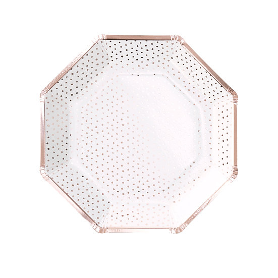 Rose Gold Dotted Plates