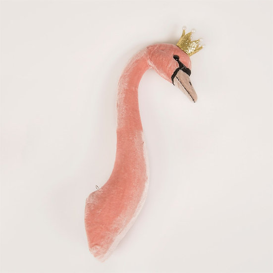 Blush Rose Velvet Swan Head Decoration