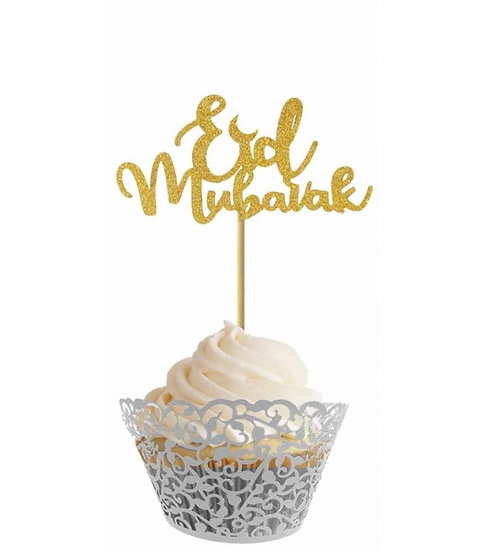 Eid Cupcake Toppers - Silver/Gold