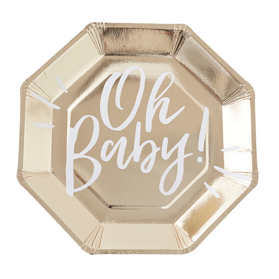 'Oh Baby' Plates - Gold