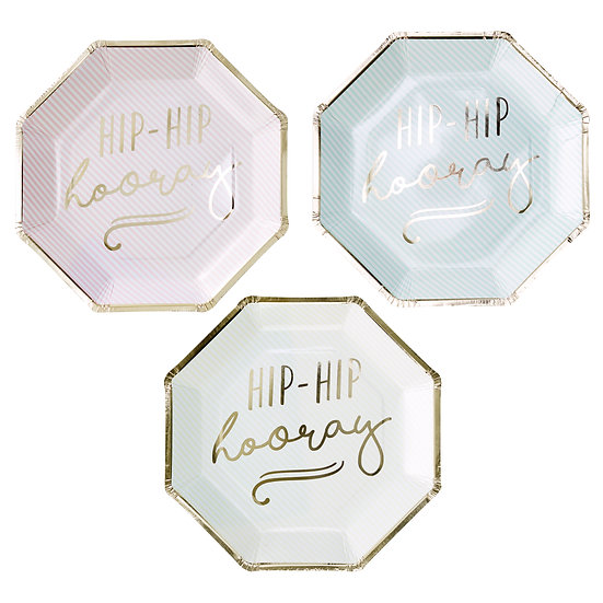 Hip Hip Hooray Gold Foiled Pastel Plates