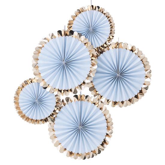 Gold Foiled Blue Fan Decorations