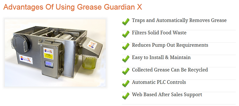 Grease Guardian traps and automatically removes grease and filters solid food waste.