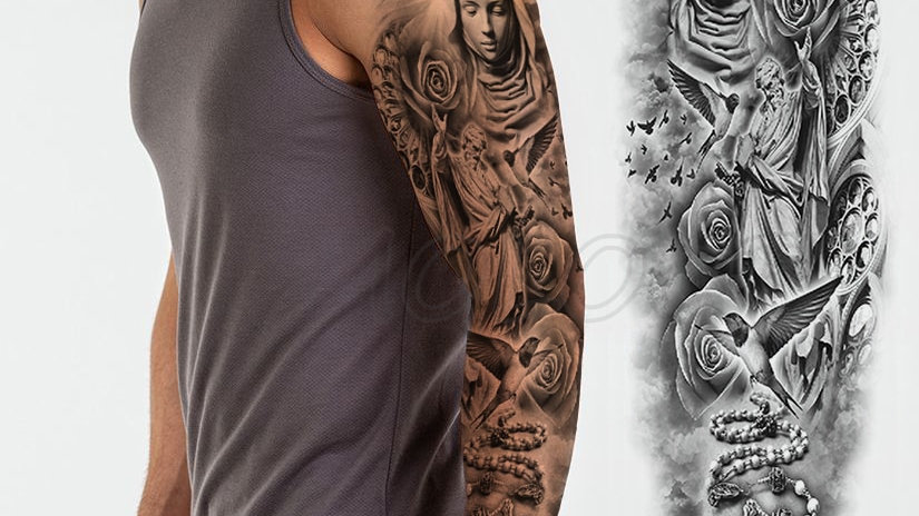 Waterproof Temporary Tattoo Sticker Full Arm Large Virgin Cross Tatoo Stickers