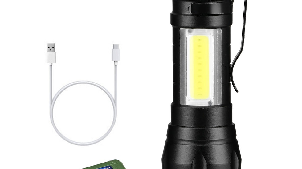 Portable LED Flashlight COB+XPE Tactical Torch Zoomable Focus Flashlights 3 Mode