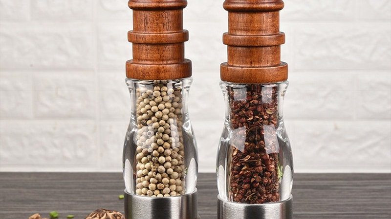 Wooden Salt and Pepper Grinder Set - Wood and Acrylic Mills, Adjustable Coarsene