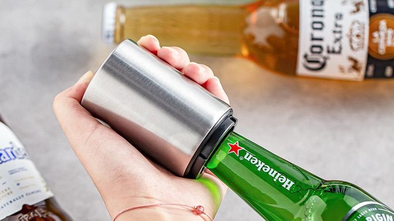 Automatic Beer Bottle Opener,Magnet Beer Opener,Stainless Steel Push Down Opener