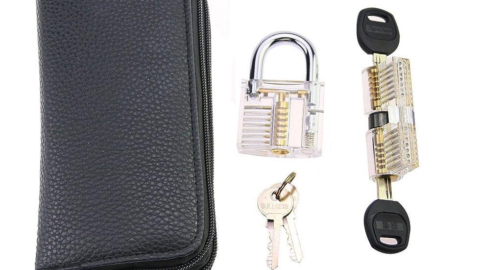 24pcs Goso Blue Locksmith Lock Tool With Transparent Locks Practice Set Hand
