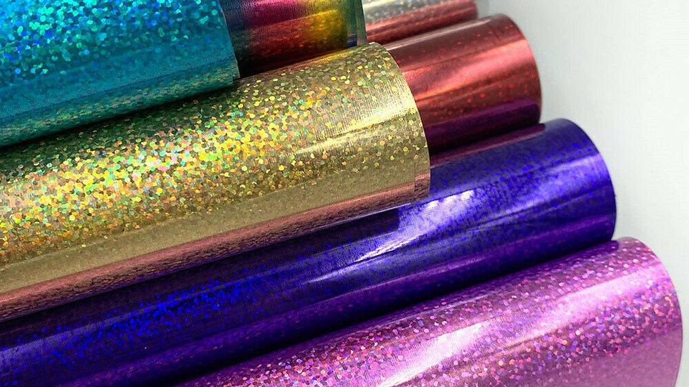 Glitter Hologram Heat Transfer Vinyl PET Iron-On Heat Press T-Shirt Cricut Film