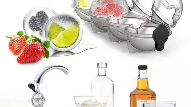 4 Cavity Whiskey Ice Cube Maker Mold Creative Silicone Round Hockey Whiskey Ice