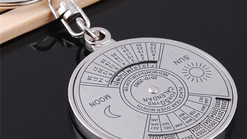 EDC Gear Outdoor Camping 50 Year Calendar Key Chain Multi Tool Metal Ring Compas
