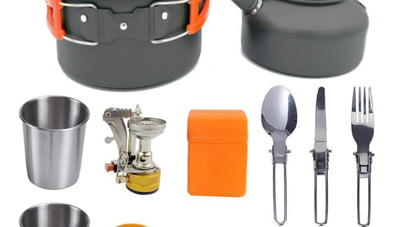 Camping Cookware Set Picnic Cooking Pots Set Outdoor Hiking BBQ Tableware
