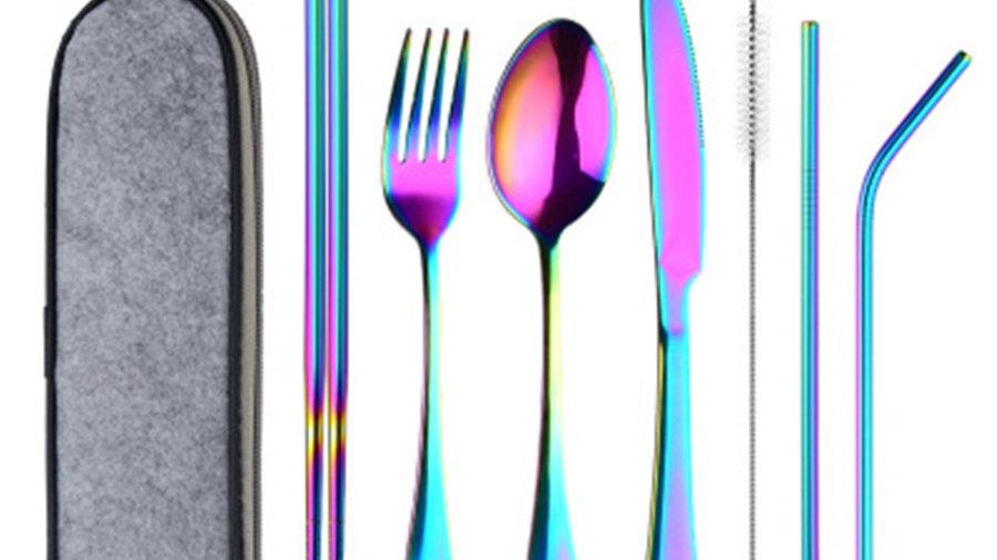 8Pcs/Set Tableware Reusable Travel Cutlery Set Camp Utensils Set