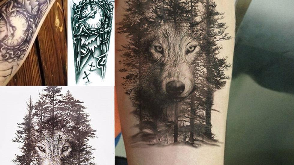 1Pc Waterproof Temporary Tattoo Sticker Chest Clock  Wolf Forest Tatto Stickers
