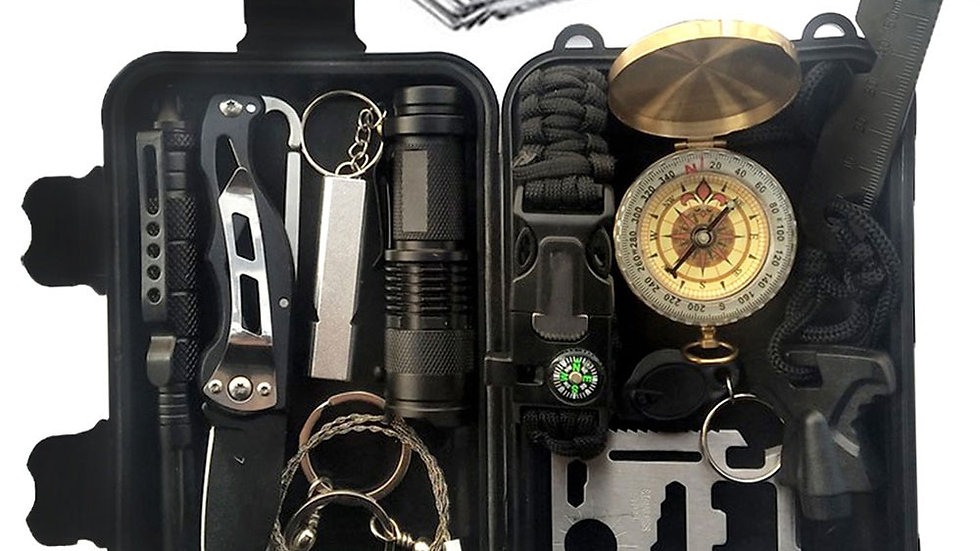 12 in 1 Camping Survival Kit Set Outdoor Travel Multifunction First Aid SOS