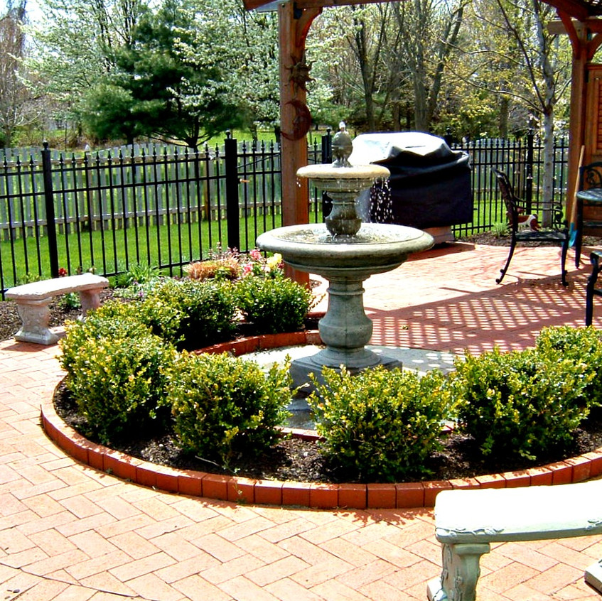 Water Feature on Red Brick Patio