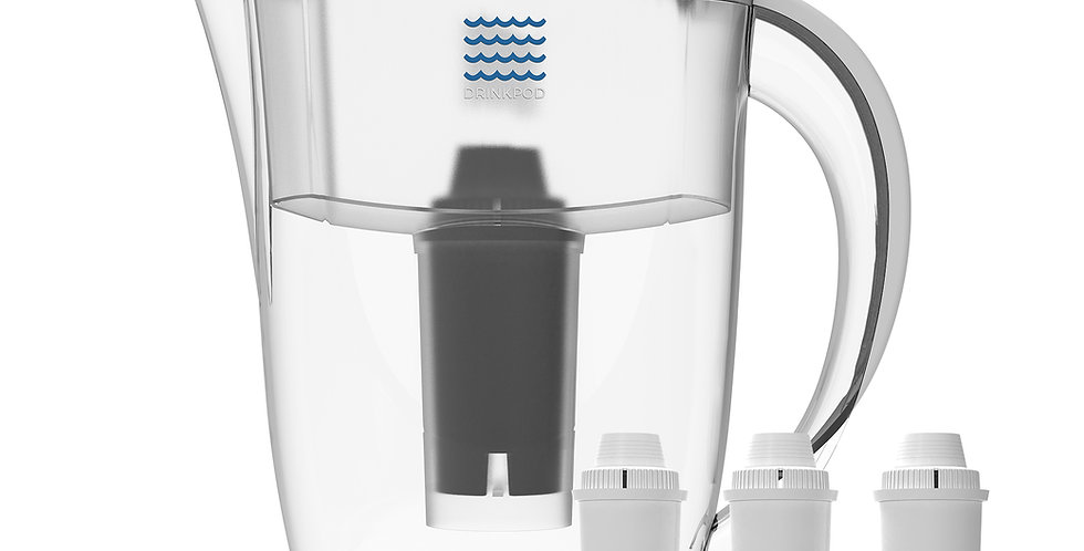 White Drinkpod Alkaline Water Filter Pitcher, 8-Stage Cartridge 2.5L