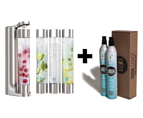 Fizzpod Soda Maker With TWO CO2 Cylinders, Fizzy Drink Machine & 3 PET Bottles