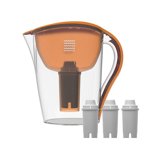 Orange Drinkpod Ultra Premium Alkaline Water Pitcher - 3.5L Capacity