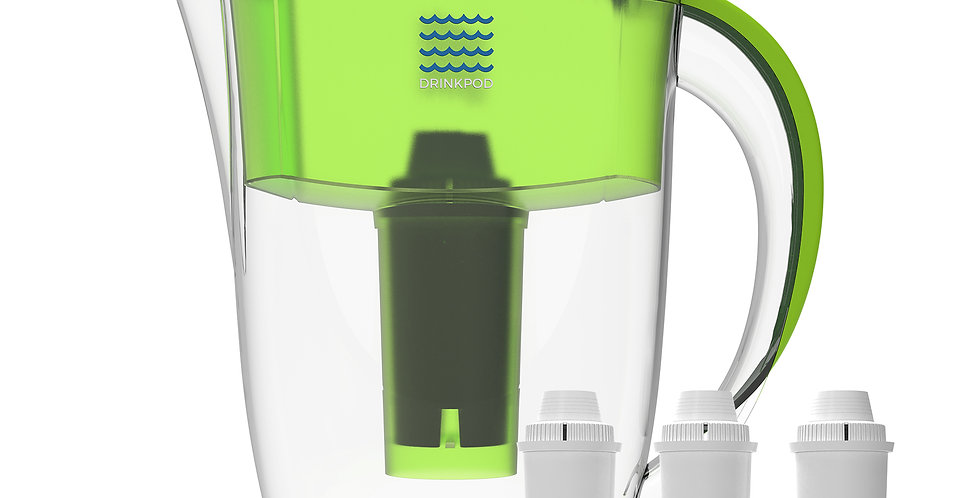 Drinkpod Alkaline Water Filter Pitcher, 8-Stage Cartridge 2.5L