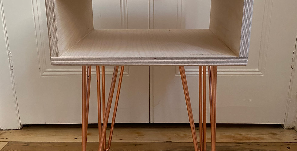 Customisable Scandi style birch plywood and Walnut side table with hairpin legs