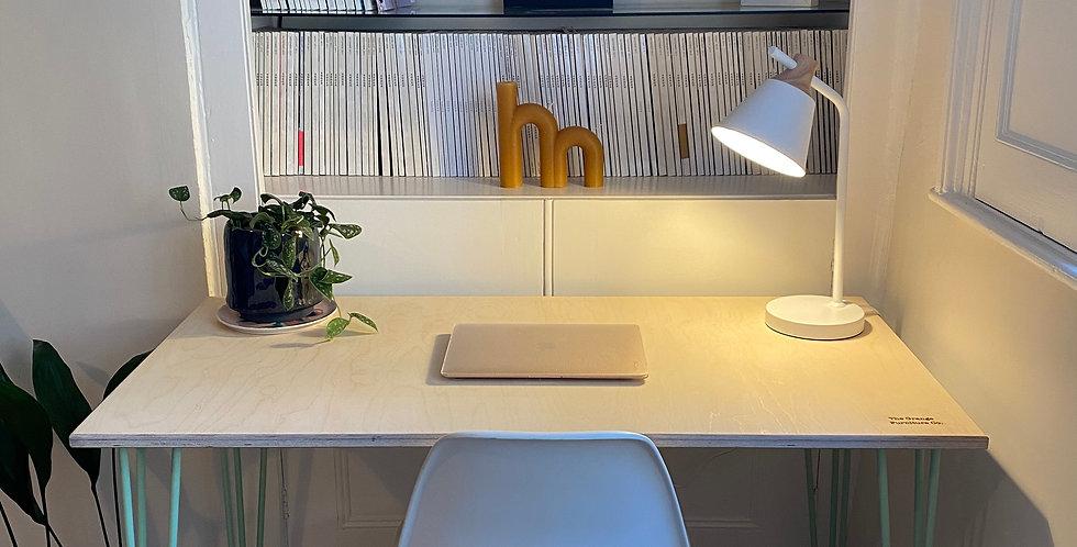 Customisable Scandinavian style Birch Plywood office desk with hairpin legs