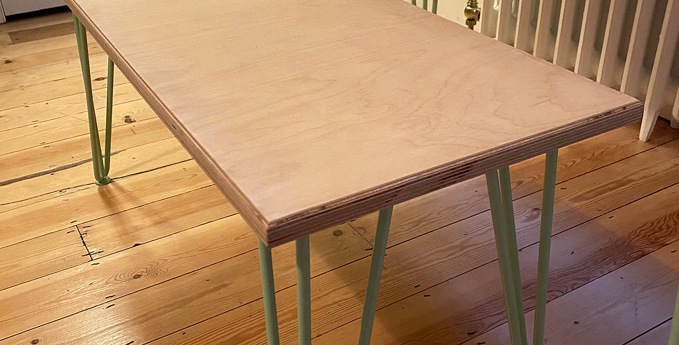 Customisable Scandinavian style birch plywood bench with hairpin legs