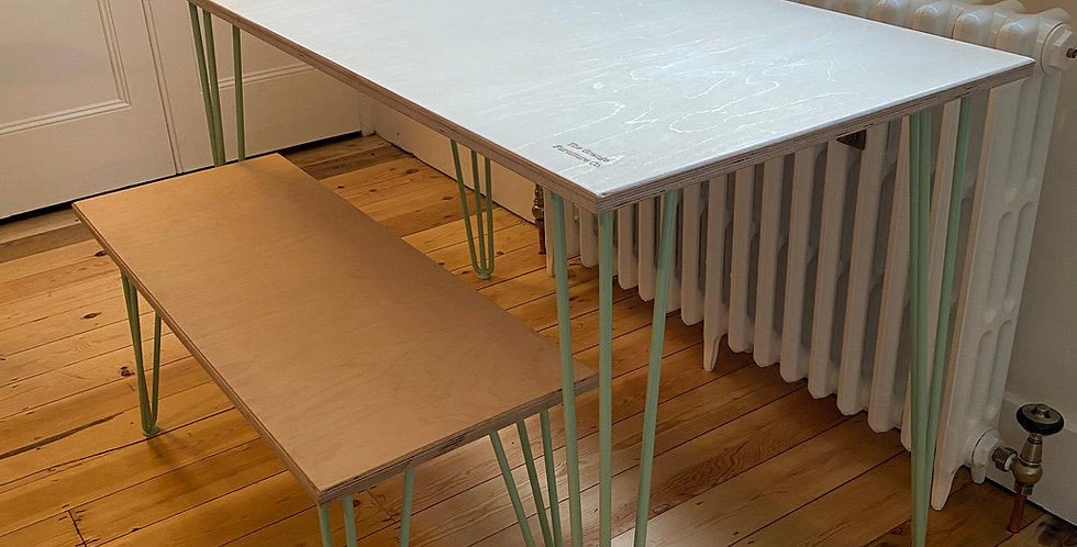 Customisable Scandinavian style Birch Plywood dining table with hairpin legs