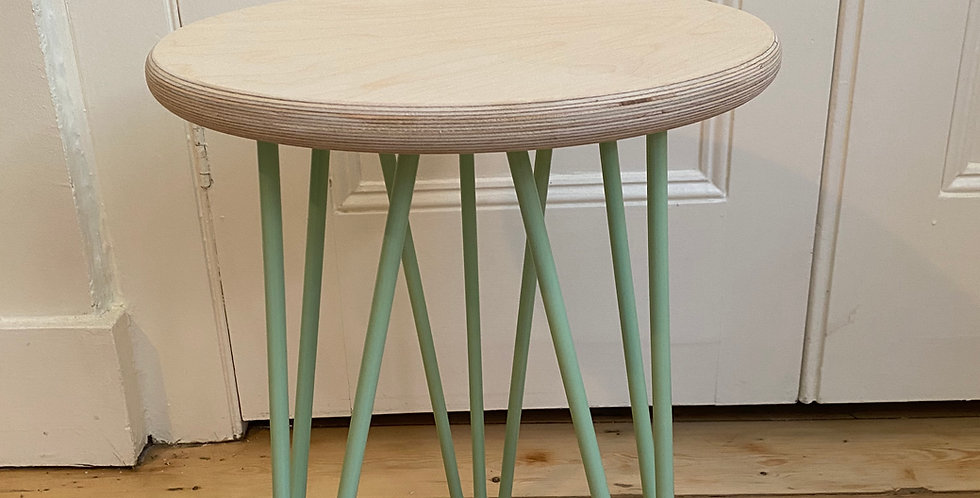 Customisable Scandinavian style birch plywood stool/side table with hairpin legs