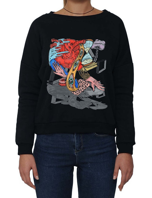 """HOT HEART BALLOON"" on Dumbo Sweatshirt - Made in Italy - High quality cotton"