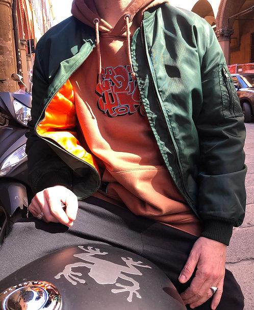 BOMBER - verde, interno arancio