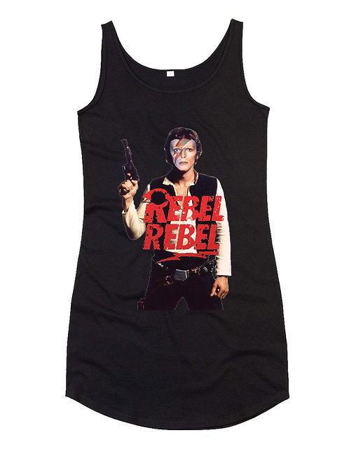"""REBEL REBEL"" on Curved Vest Dress"