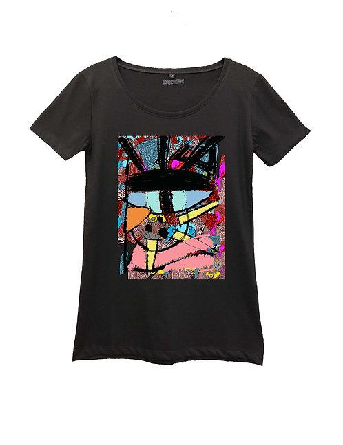 """CAT EYE"" on Round neck t-shirt - High quality cotton"